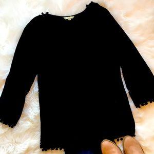 Anandas black tunic with Pom Pom trim XL